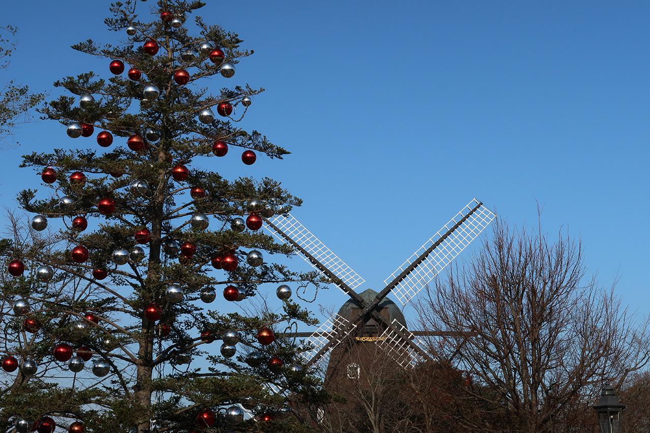 クリスマス時期の風車の写真