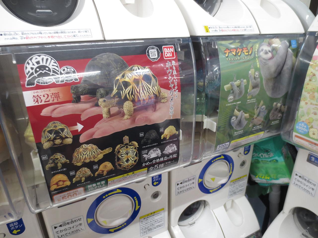 動物のおもちゃが入ったガチャガチャの写真
