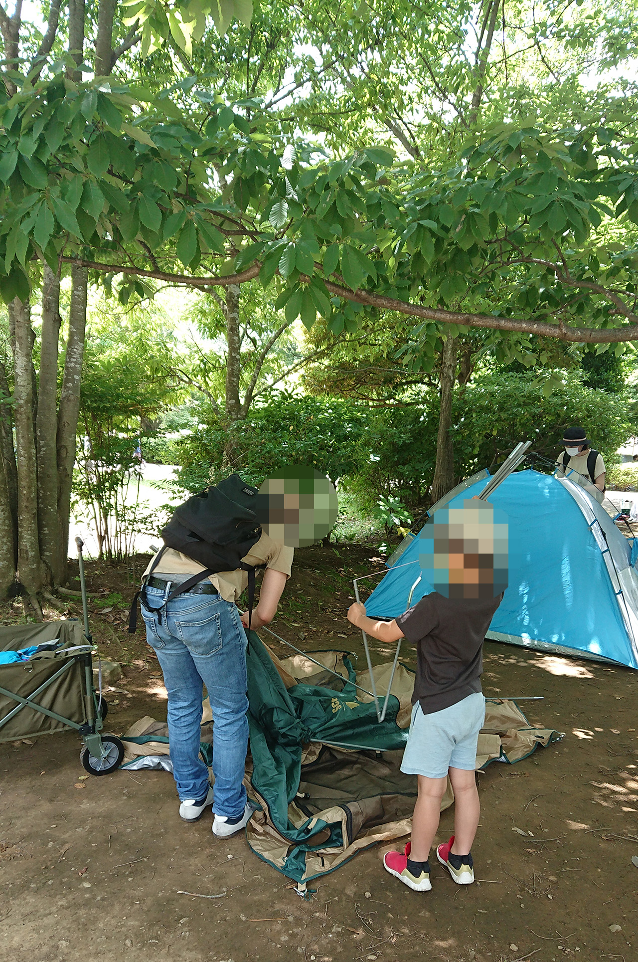 テントを組み立てる様子の写真
