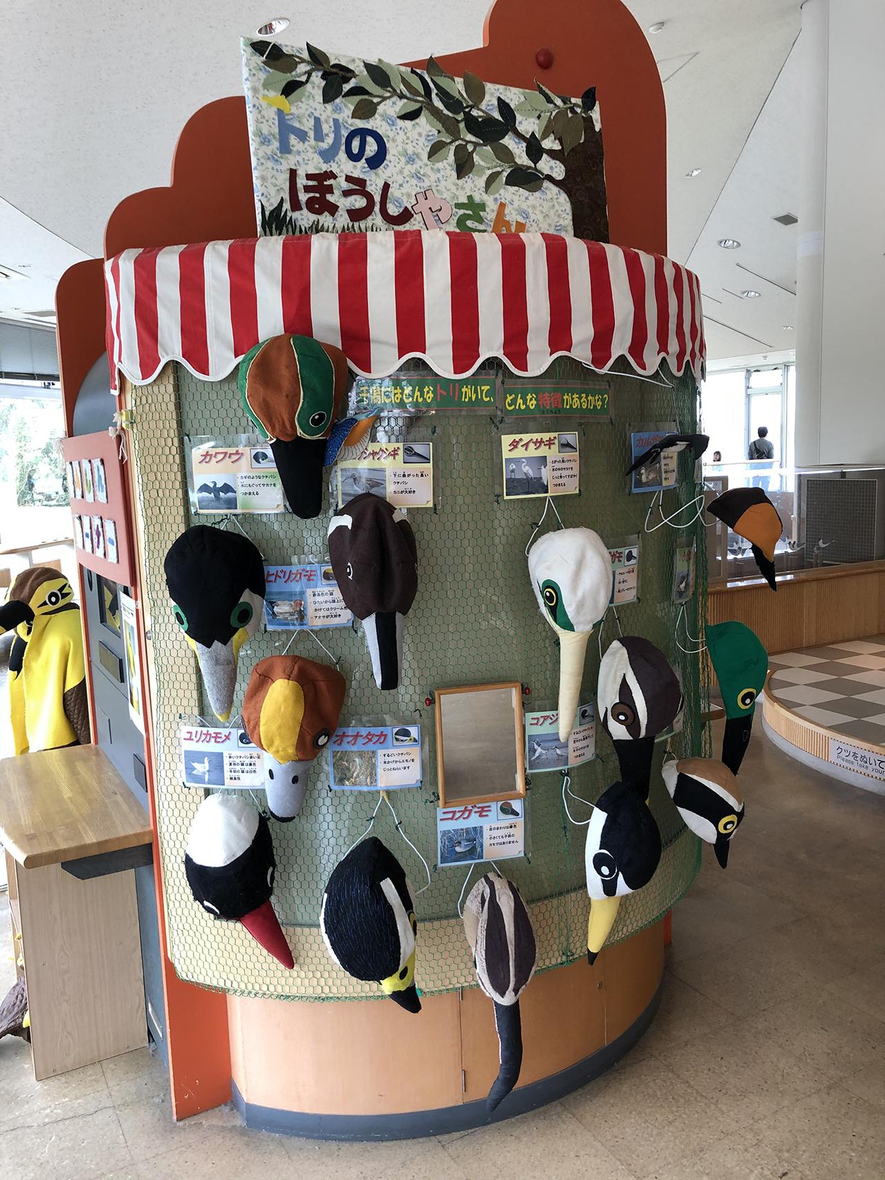 鳥の帽子コーナーの写真