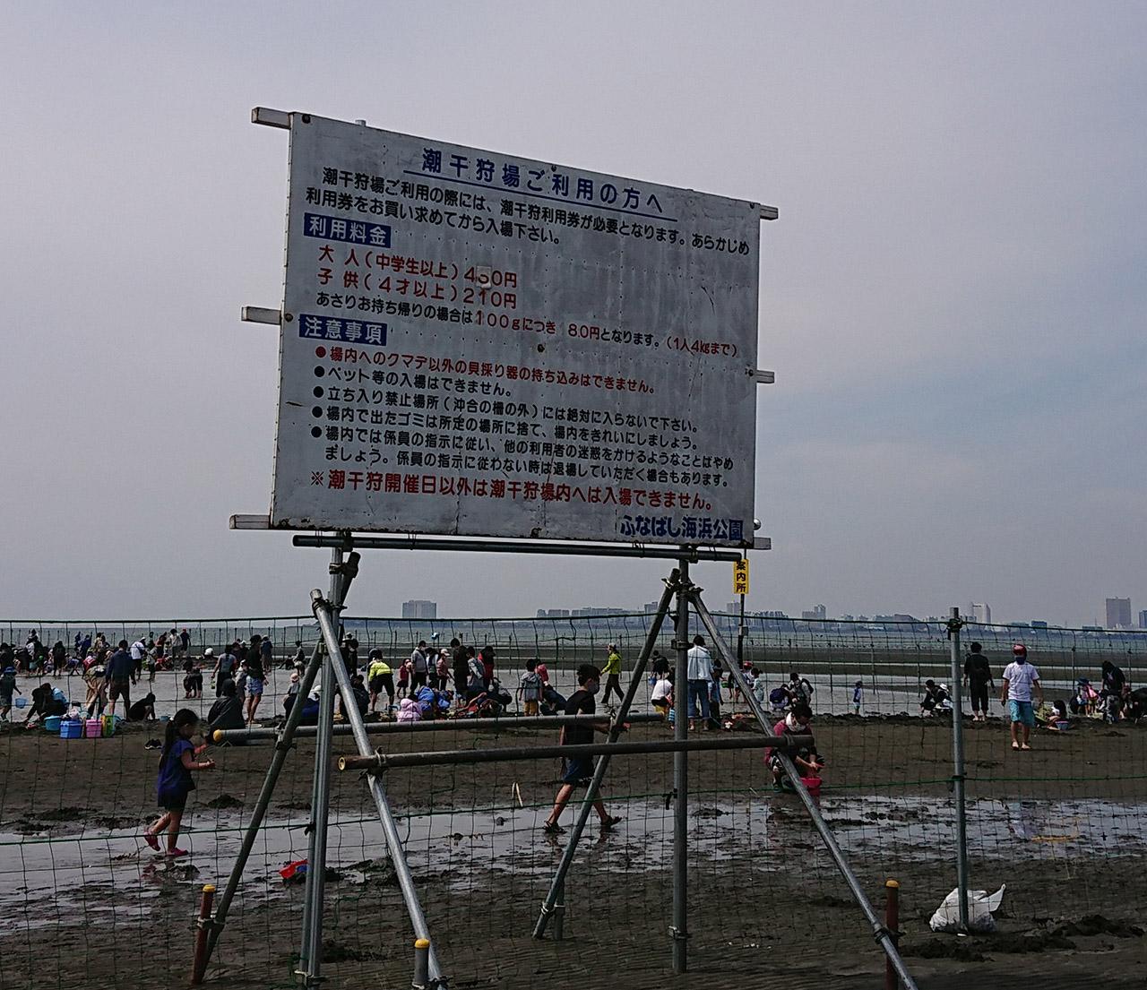 ふなばし三番瀬海浜公園の潮干狩りの案内看板写真