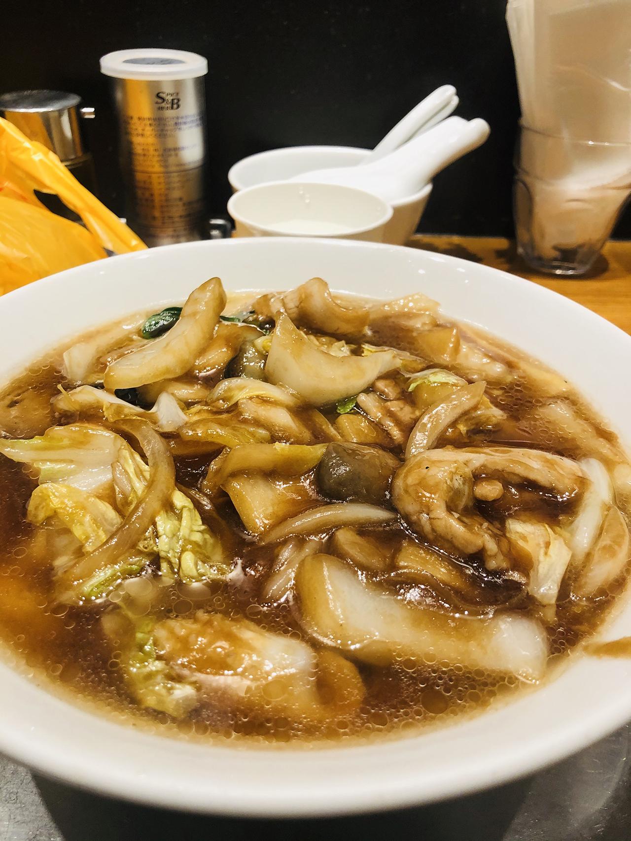 五目あんかけ麺のアップ写真