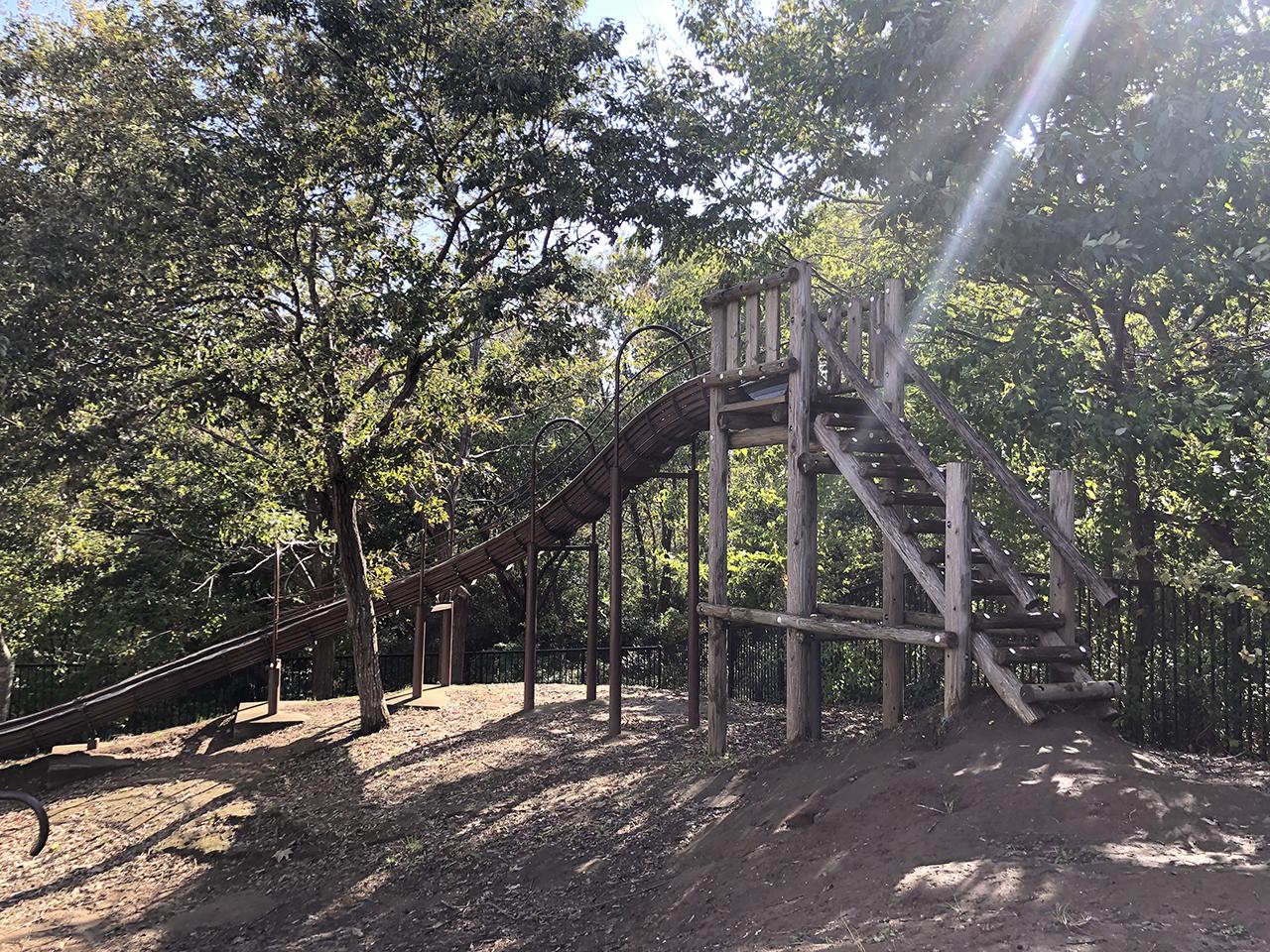 木の滑り台の写真