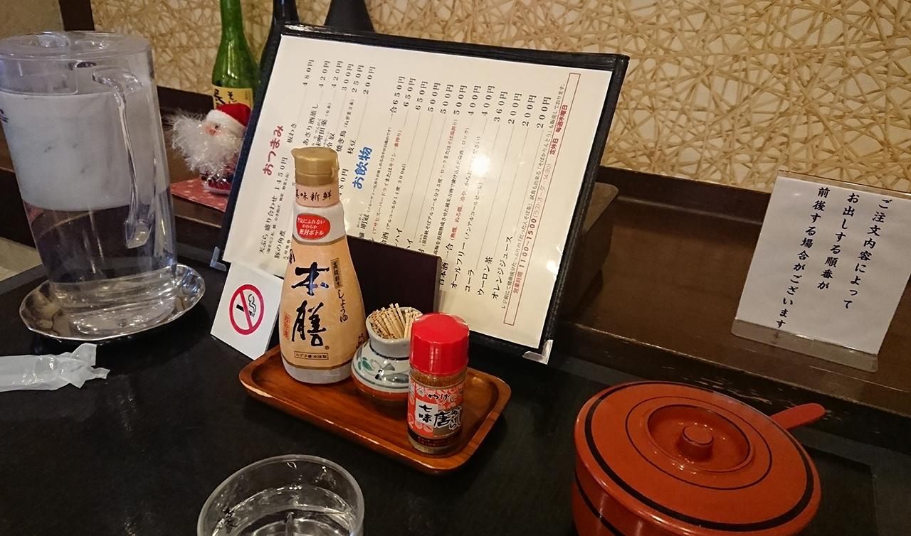テーブルに置かれた調味料の写真