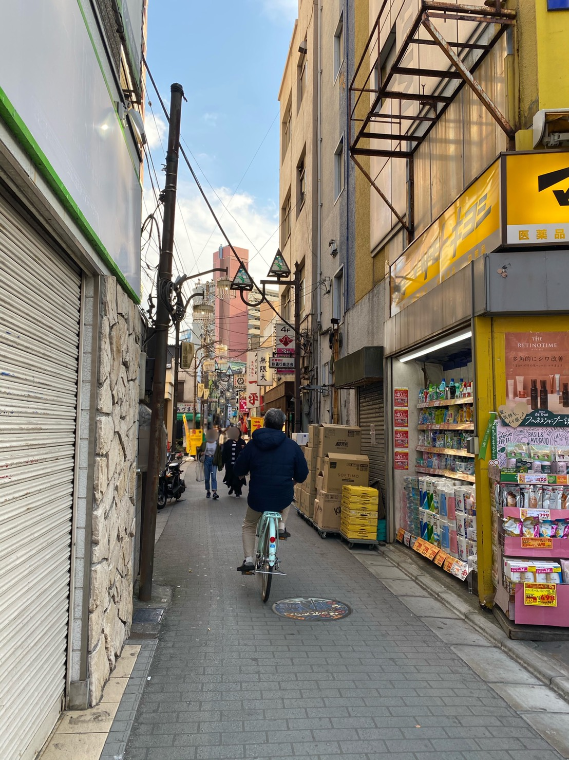 店舗に行く途中の道路の写真