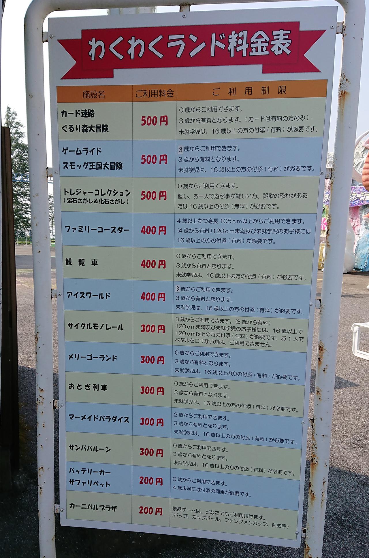 アトラクション料金表の写真